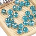 Beads, Selenial Crystal, Crystal, Teal AB, Faceted Discs, 8mm x 8mm x 6mm, 10 Beads, [ZZC101]